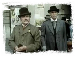 Patrick Macnee as Dr Watson and Christopher Lee as Sherlock Holmes in 'Sherlock Holmes and the Leading Lady'