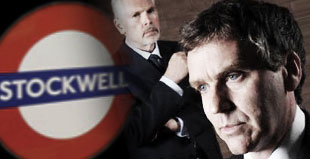 Kevin Quarmby as the Coroner, Sir Michael Wright and David Hepple as DCI McDowell in Stockwell